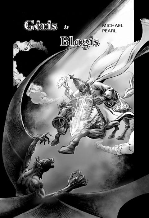 Gėrio ir blogio komiksų knygos viršelis. Angliška komiksų biblija. Krikščionių komiksų knyga anglų kalba.